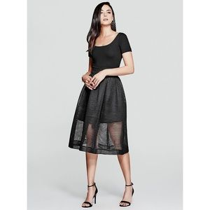 Guess by Marciano Vallis Black Mesh A-Line Skirt